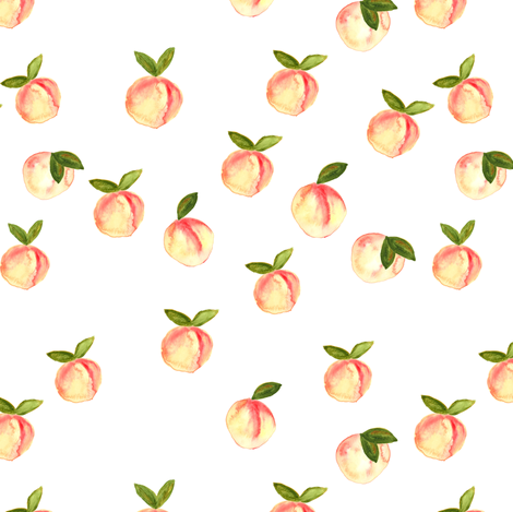 watercolor peaches || white fabric by littlearrowdesign on Spoonflower - custom fabric