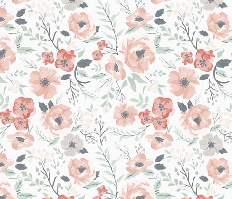 Soft Meadow Floral fabric by sweeterthanhoney on Spoonflower - custom fabric