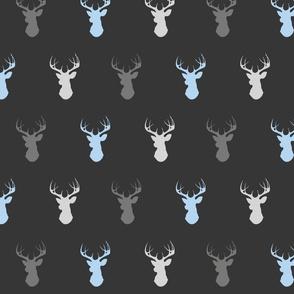 Deer- Baby Boy woodland - blue grey charcoal