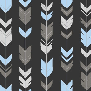 Arrow Feathers  - off black charcoal, grey, blue, silver-ch
