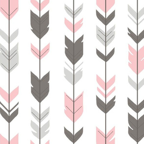 Arrow Feathers - grey,pink,white-