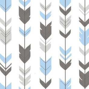 Arrow Feathers - Baby boy blue, , grey,white-