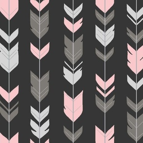 Arrow Feathers - Baby girl woodland - charcoal, grey, pink