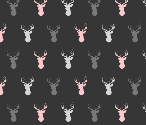 deer- baby girl woodland - pink grey off-black fabric by sugarpinedesign on Spoonflower - custom fabric
