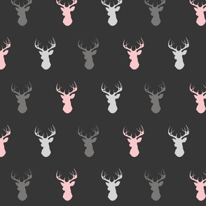 deer- baby girl woodland - pink grey off-black