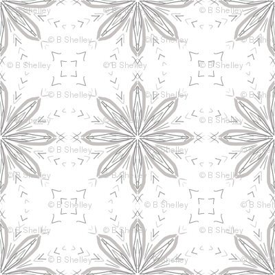 Compass Flower in Grey & White