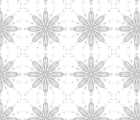 Compass Flower in Grey & White fabric by blue_dog_decorating on Spoonflower - custom fabric
