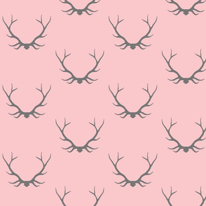 Antlers- baby girl pink and grey -Buck deer-ch-ch