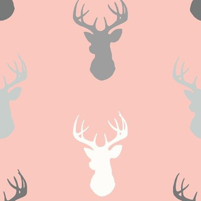 Deer-Coral/Grey/Off-White - woodland baby nursery-ch
