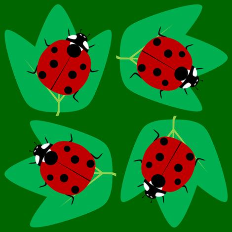 Ladybugs on Leaves fabric by blue_dog_decorating on Spoonflower - custom fabric