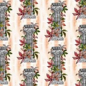 Roman column, plants entwine, leaves green, red, orange.