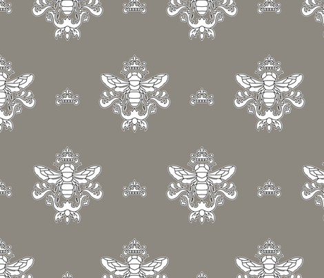 Royal Bumble Bee in Gray and White fabric by rose_mary on Spoonflower - custom fabric