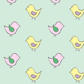 little birds // mint // pink & yellow