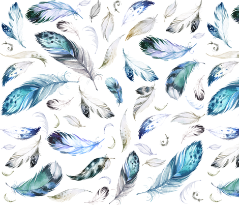 "36"" Blue, Grey, Black & White Feathers Mix & Match fabric by shopcabin on Spoonflower - custom fabric"
