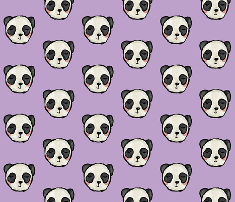 Purple Pandas fabric by almostnoelle on Spoonflower - custom fabric