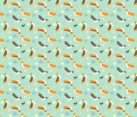 Tiny Pembrokes - Easter fabric by rusticcorgi on Spoonflower - custom fabric