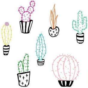 Black & White Colorful Cactus Collection