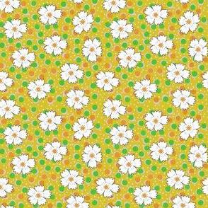 Flour sack:  white daisies on yellow