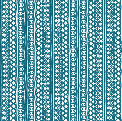 Ditsy Tribal Stripe Indigo and White fabric by shi_designs on Spoonflower - custom fabric