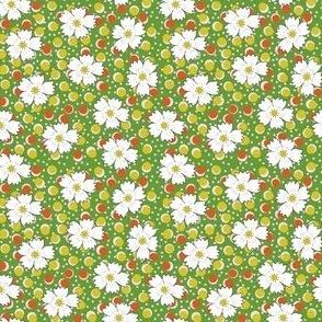 Flour sack: white daisies on green