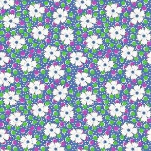 Flour sack: white daisies on blue