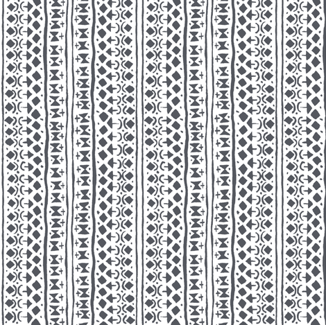 Ditsy Tribal Stripe Black and White fabric by shi_designs on Spoonflower - custom fabric