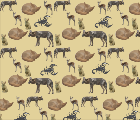 Low Poly Desert Creatures fabric by whimsicalvigilante on Spoonflower - custom fabric