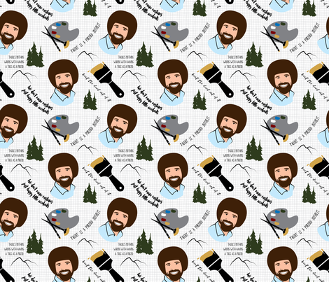 Homage to Bob Ross fabric by upchuck on Spoonflower - custom fabric
