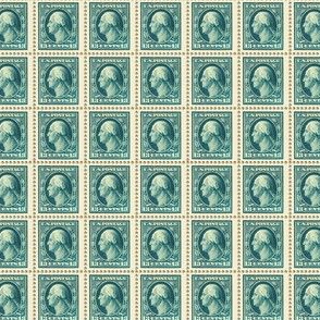 1908 George Washington 13-cent blue-green stamp sheet