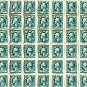 1908 George Washington 13-cent blue-green stamp sheet