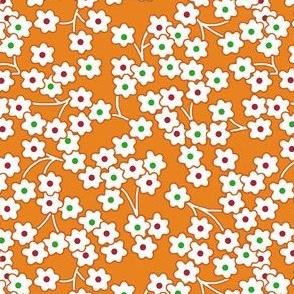 Flour sack: poppies on orange