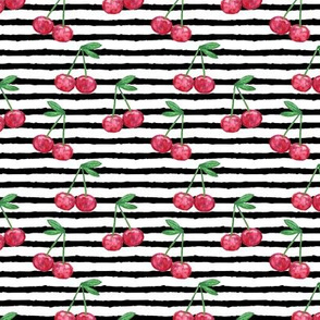 watercolor cherries on stripes