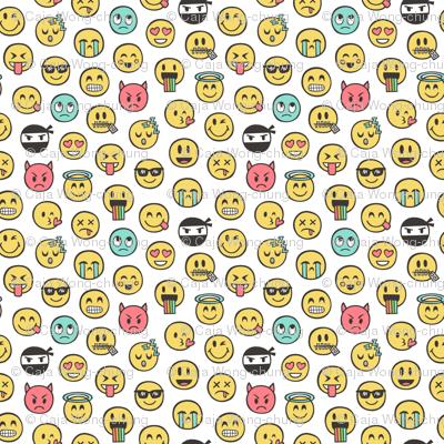 Smiley Emoticon Emoji Doodle on White Tiny Small
