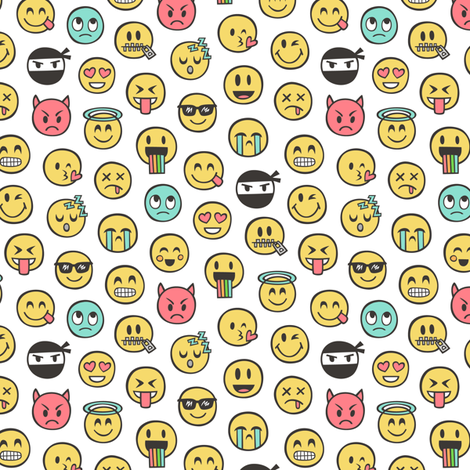 Smiley Emoticon Emoji Doodle on White Tiny Small fabric by caja_design on Spoonflower - custom fabric