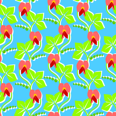 Very pretty peas - 'Pyrex' blue fabric by moirarae on Spoonflower - custom fabric