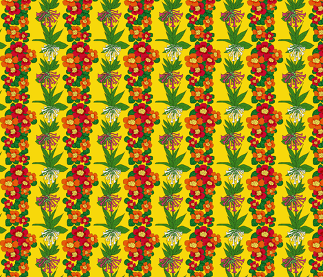 nasturtium_nicotiana_naples_4x4 fabric by leroyj on Spoonflower - custom fabric