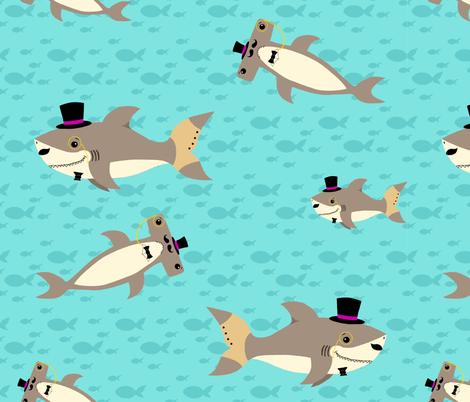 Dapper Sharks fabric by angelcallie on Spoonflower - custom fabric