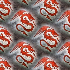 red dragon on gray - large