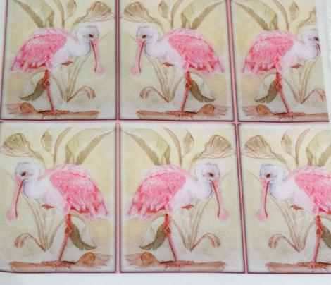 Watercolor Waterbird Art Nouveau Faux Tile Roseate_Spoonbill