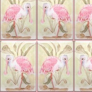 Watercolor Waterbird Art Nouveau Faux Tile Roseate_Spoonbill