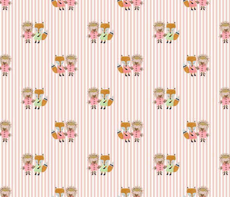 Foxie and Hedgie Pink Stripe fabric by paper_and_frill on Spoonflower - custom fabric