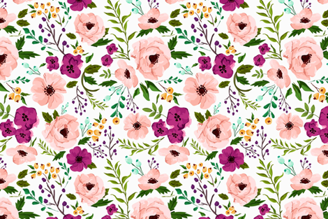 Josie Meadow Floral fabric by sweeterthanhoney on Spoonflower - custom fabric