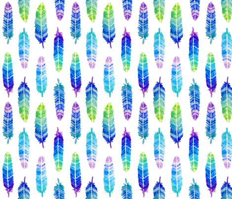 watercolor feathers fabric by analinea on Spoonflower - custom fabric