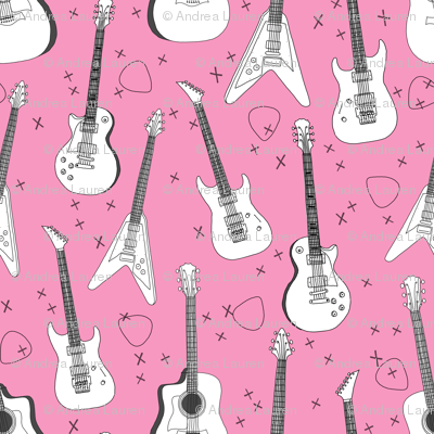 guitars // pink guitar fabric for girls rock bands electric guitars music print