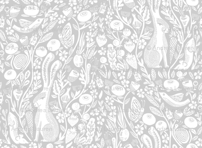 hare // linocut light grey silver grey botanical print neutral design andrea lauren linocut woodcut wallpaper