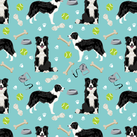 border collie toys tennis balls light blue fabric fabric by petfriendly on Spoonflower - custom fabric