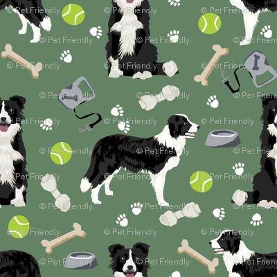 border collie toys tennis balls neutral medium green fabric