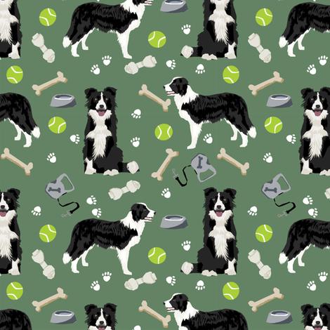 border collie toys tennis balls neutral medium green fabric fabric by petfriendly on Spoonflower - custom fabric