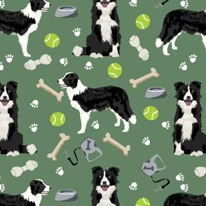 border collie toys tennis balls neutral medium green fabric