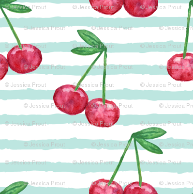 (micro print) watercolor cherries on blue stripes